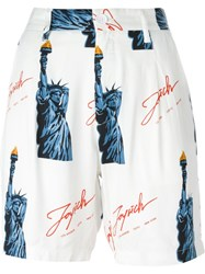 Joyrich Statue Of Liberty Print Shorts White
