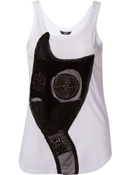Uma Cat Embroidered Tank Top White