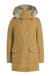 Woolrich Down Parka With Fur Trimmed Hood Brown