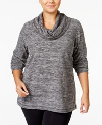 Ideology Plus Size Cowl Neck Space Dyed Fleece Top Only At Macy's Noir Space