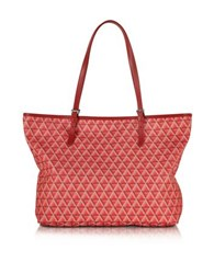 Lancaster Paris Ikon Printed Coated Canvas And Leather Tote Red
