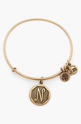 Women's Alex And Ani 'Initial' Adjustable Wire Bangle N Russian Gold