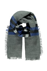 Forever 21 Men Stripe Woven Scarf Heather Grey Blue