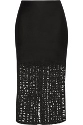 Jason Wu Felted Wool Blend And Lace Skirt Black
