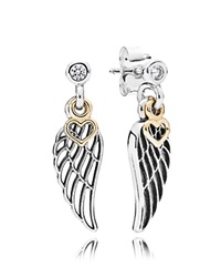 Pandora Design Pandora Earrings 14K Gold Sterling Silver And Cubic Zirconia Love And Guidance