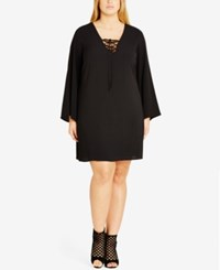 City Chic Trendy Plus Size Bell Sleeve Tunic Black