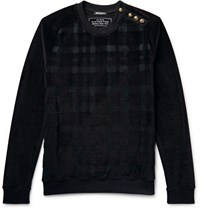 Balmain Embellished Checked Velour Sweatshirt Black
