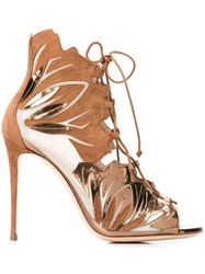 Casadei Lace Up Sandals Nude And Neutrals