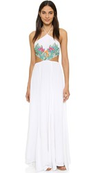 Mara Hoffman Leaf Embroidery Halter Maxi Dress White Multi