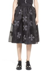 Jupe By Jackie 'Mokolo' Floral Embroidered Silk Organza Skirt Black