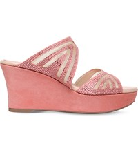 Rene Caovilla Swarovski Embellished Suede Wedge Sandals Peach