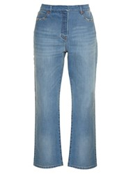 Valentino Rockstud High Rise Boyfriend Jeans Light Denim