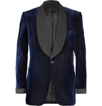 Kingsman Blue Velvet Smoking Jacket With Silk Grosgrain Shawl Collar