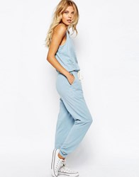 Asos Jersey Jumpsuit With Button Detail And Tie Waist Chambray