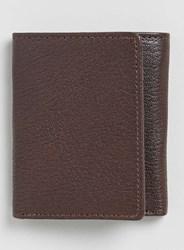 Topman Brown Leather Textured Trifold Wallet
