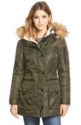 Guess Satin Flight Parka With Removable Faux Fur Trim Hood And Faux Shearling Lining Olive