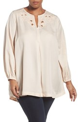 Melissa Mccarthy Seven7 Plus Size Women's Embroidered Cutout Neck Blouse Whisper Pink