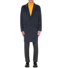 Sandro Single Breasted Wool And Cashmere Blend Coat Blue