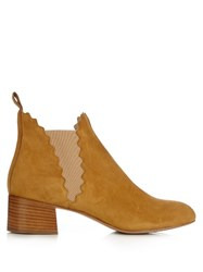 Chloe Lauren Scallop Edged Suede Ankle Boots Dark Yellow