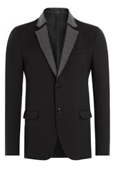 Alexander Mcqueen Wool Mohair Blazer With Stud Embellished Lapel Black