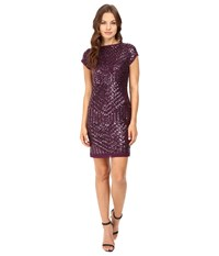 Vince Camuto Sequins Dress With Chiffon Trim Plum Women's Dress Purple