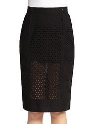 Tamara Mellon Eyelet Zipper Skirt Black