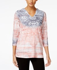 Styleandco. Style And Co. Petite Printed Burnout Pullover Hoodie Only At Macy's Peach Zing