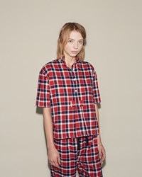 The Sleep Shirt Lounge Set Navy Red Plaid