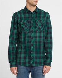 Iriedaily Blue And Green Checked Old Fella Flannel Fitted Shirt