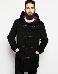 Gloverall Duffle Coat With Check Hood Black