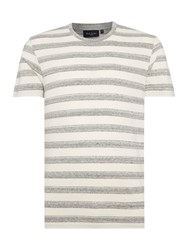 Paul Smith Regular Fit Crew Neck Wide Space Stripe T Shirt Grey