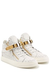 Giuseppe Zanotti Embossed Leather Hip Tops With Gold Hardware White