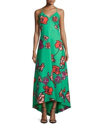 Phoebe Couture Floral Print High Low Maxi Dress Women's