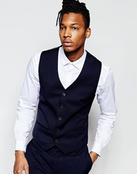 French Connection Slim Fit Tuxedo Waistcoat Navy