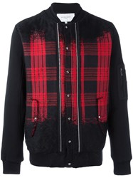 Les Benjamins Checked Bomber Jacket Black