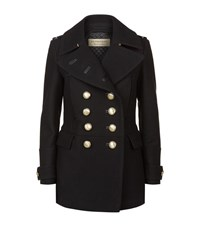 Burberry Wool Blend Military Pea Coat Female Black