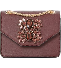 Dune Samia Micro Jewelled Shoulder Bag Berry Plain Synthetic