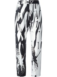 Ann Demeulemeester Abstract Print Tapered Cropped Trousers Black