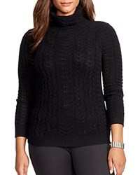 Lauren Ralph Lauren Plus Cable Knit Turtleneck Sweater Black