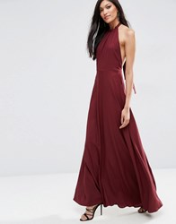 Asos Open Back Maxi Dress Wine Red