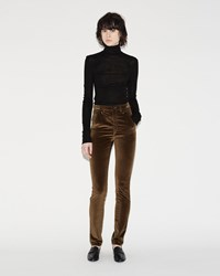 Isabel Marant Norton High Waisted Velvet Pants Bronze
