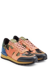 Valentino Rockstud Leather And Suede Sneakers Multicolor
