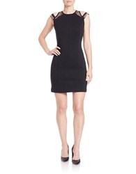 French Connection Studded Mesh Paneled Bodycon Dress