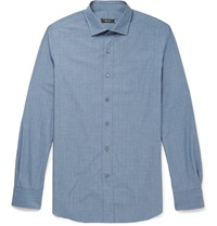Berluti Check Cotton Shirt Blue