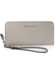 Michael Michael Kors 'Jet Set Travel' Zip Around Wallet Grey
