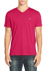 Men's Lacoste Pima Cotton Jersey V Neck T Shirt Circus Pink