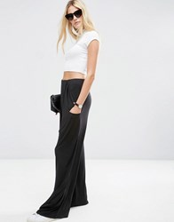 Asos Slouch Wide Leg Trousers With Drop Pockets Black