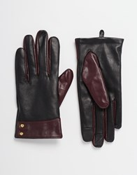 Asos Leather Gloves With Cuff Detail And Touch Screen Blackburgundy