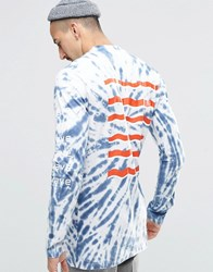 Weekday Jake Long Sleeve Top Tai Dye Print 76 101 Navy Tai Dye