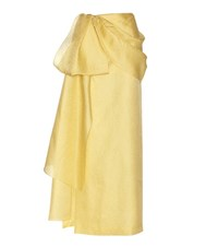 Rosie Assoulin Hustle And Bustle Jacquard Silk And Cotton Blend Maxi Skirt Yellow